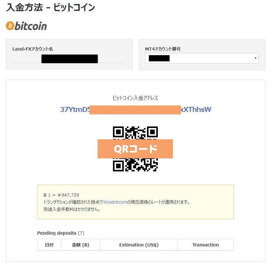 LandFX入金bitcoin入金アドレス画面