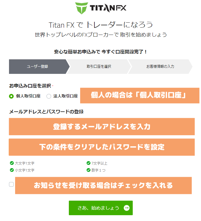 TitanFX口座開設手続きメールアドレス登録画面