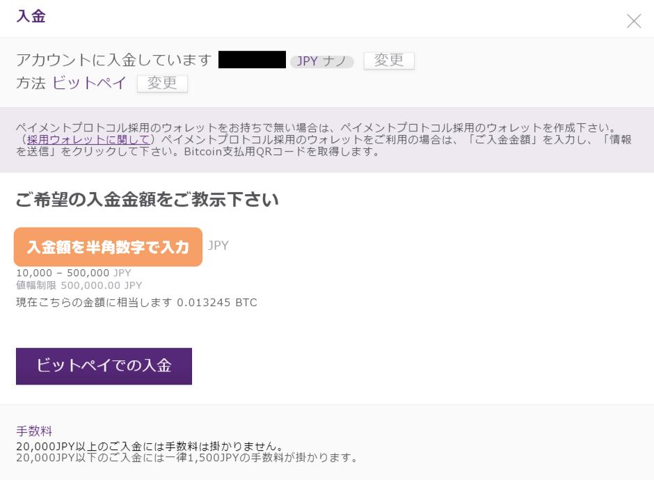 AXIORY入金-bitpay入金額の入力