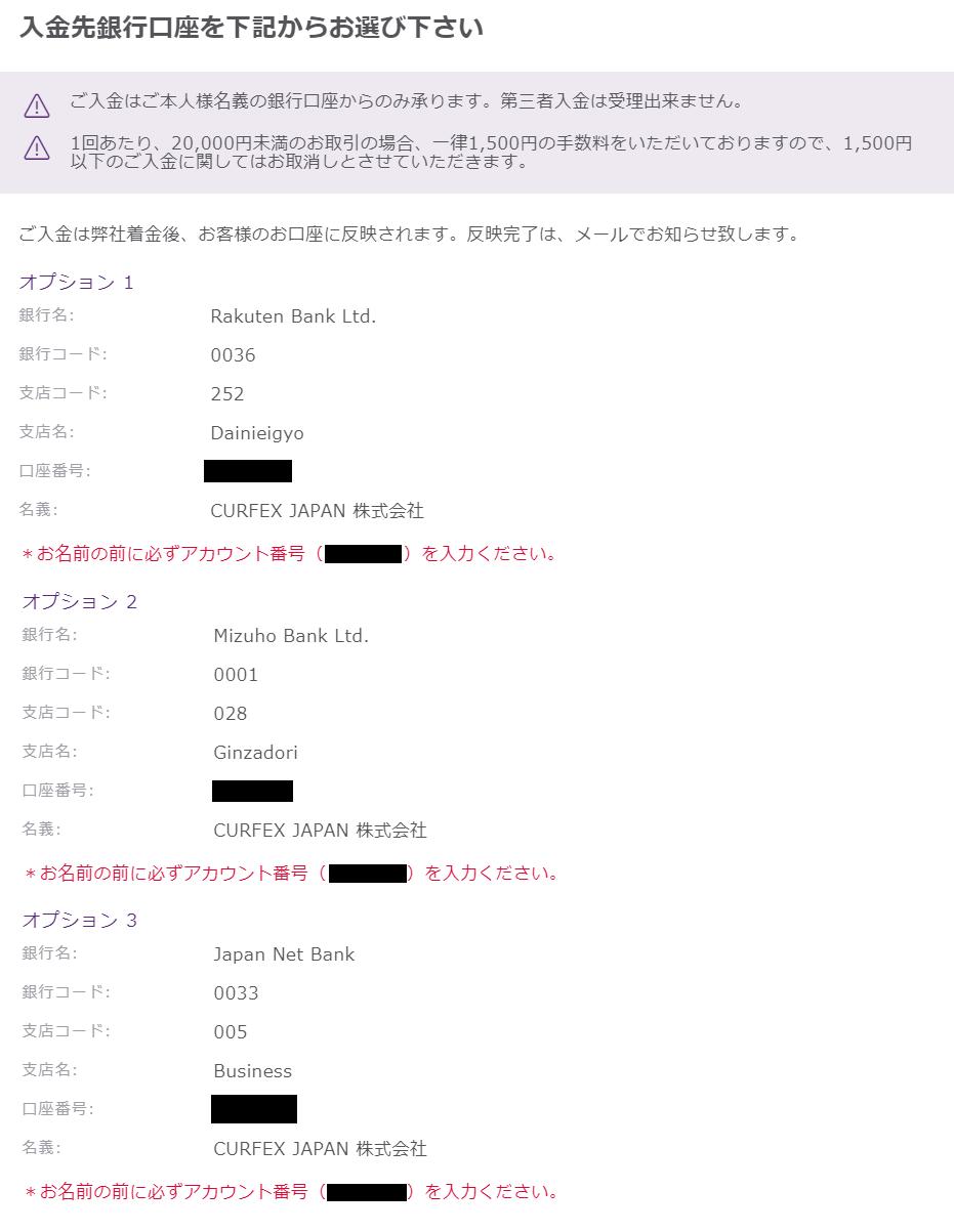AXIORY入金-国内銀行送金先