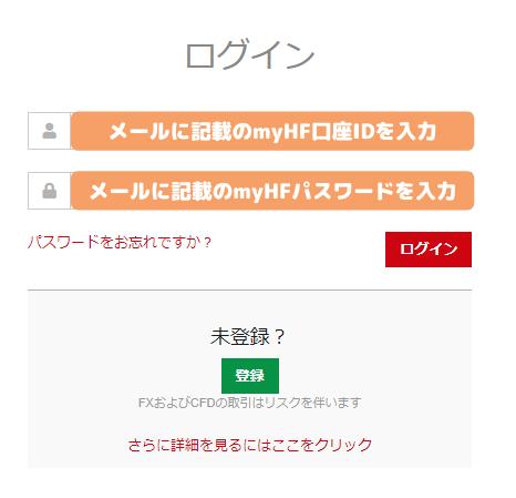 HotForexのmyHFログイン画面