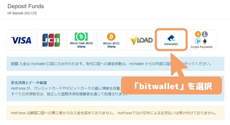 HotForexのbitwallet入金画面
