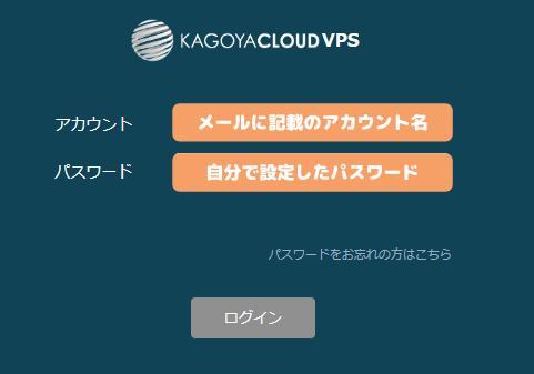 カゴヤのVPS Windows Serverコントロールパネルログイン画面