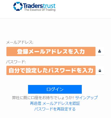 TradersTrustセキュア・エリア(MyTTCM)へのログイン画面