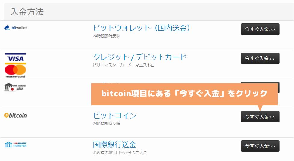 TradersTrustのbitcoin入金