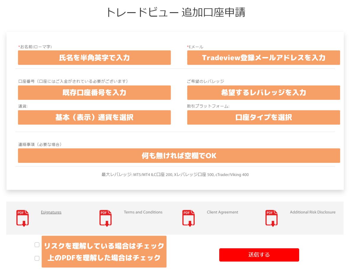 Tradeview追加口座申請手続き説明