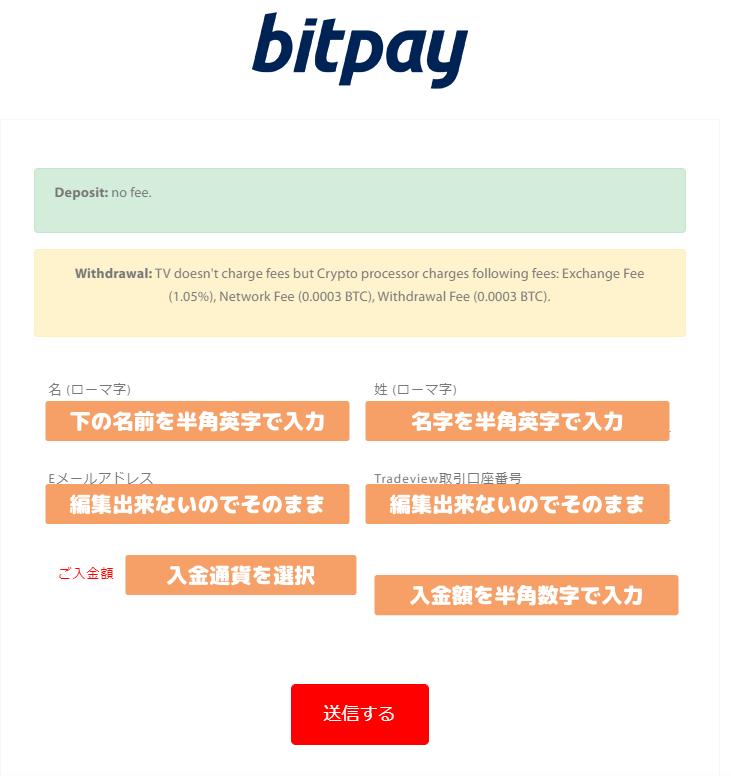 Tradeviewのbitpay入金手続き説明画像