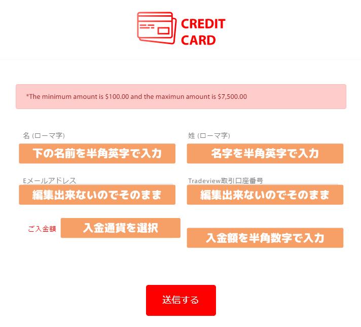 Tradeviewクレジットカード入金手続き手順説明
