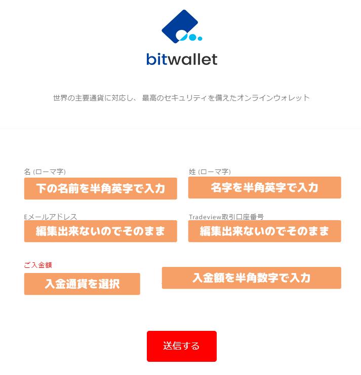 Tradeviewのbitwallet入金手続き手順説明