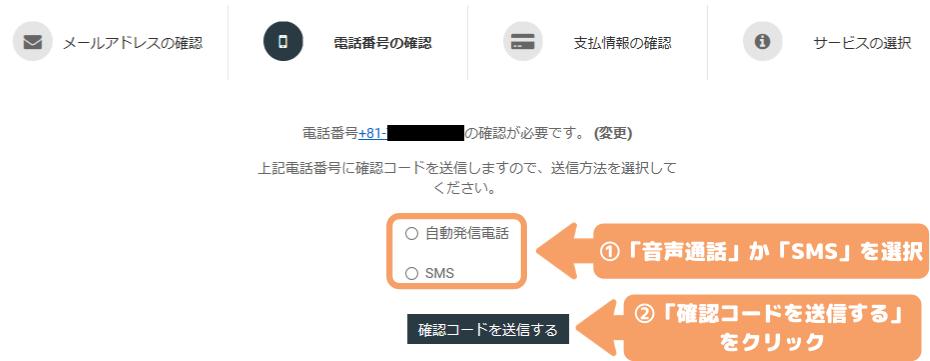 WebARENA Indigo契約手順-電話番号認証