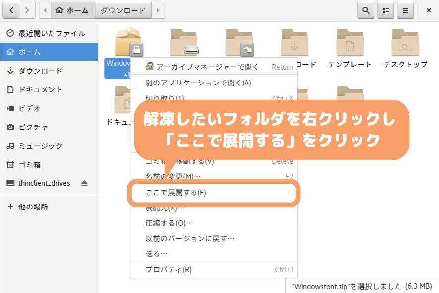 CentOS8(GNOME)の文字化け修正-zipファイルを解凍(ここで展開する)