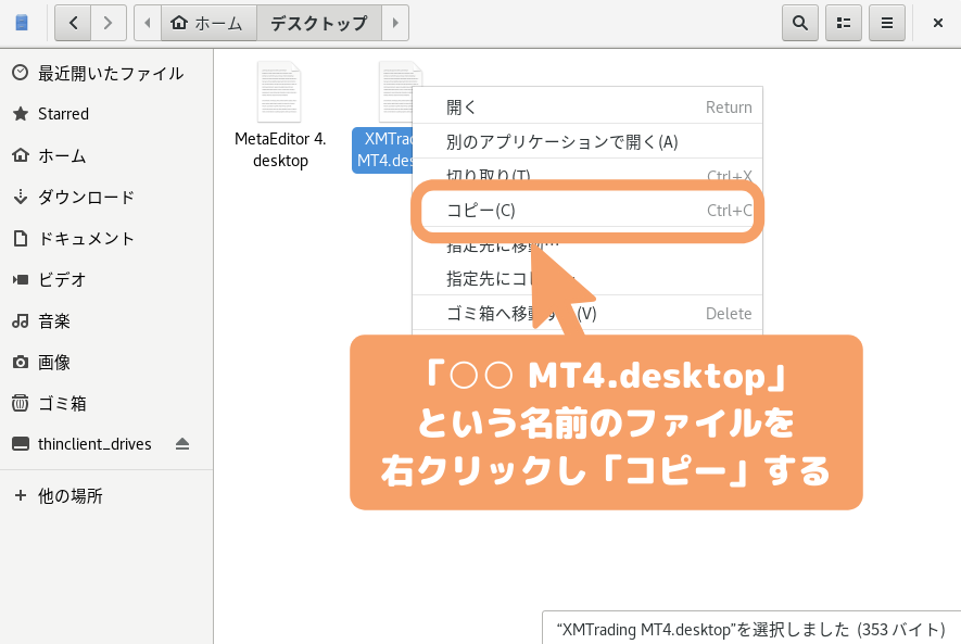 CentOS8(GNOME)の自動起動-MT4.desktop