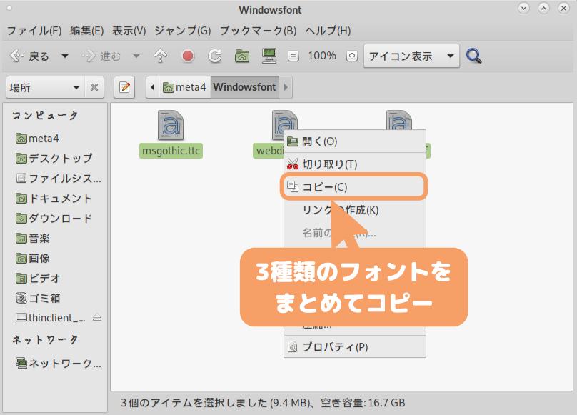 Debian 10(MATE)の文字化け修正-フォント3種類をコピー