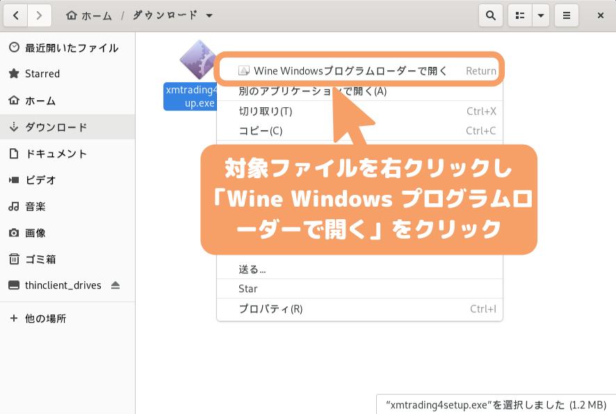 Debian 10(GNOME)のMetaTraderダウンロード-Wine Windows プログラムローダー