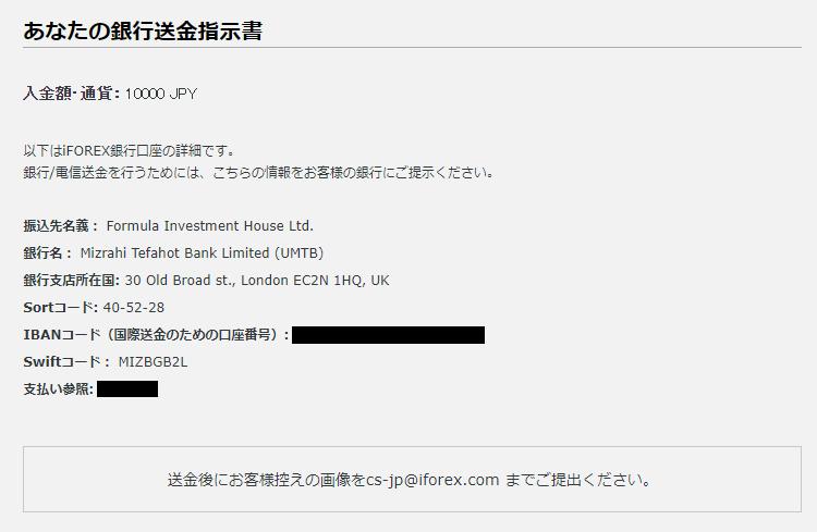 iFOREX入金-国際銀行/電信送金先