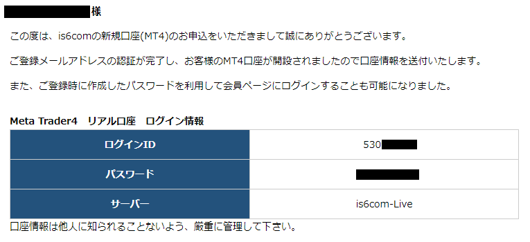 is6com口座開設-MetaTraderログイン情報メール