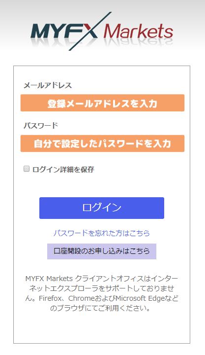MyFXMarkets-Client Officeログイン画面