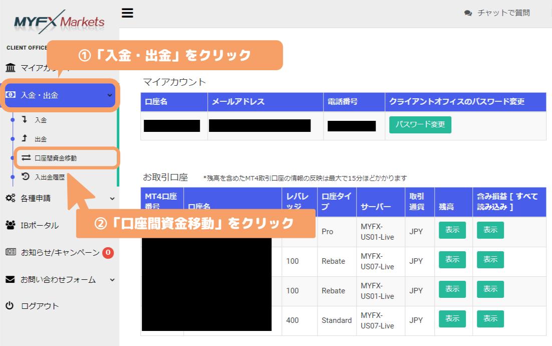 MyFXMarkets-Client Office口座間資金移動