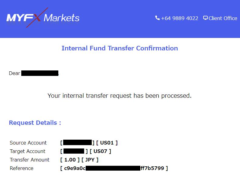 MyFXMarkets-口座間資金移動完了メール