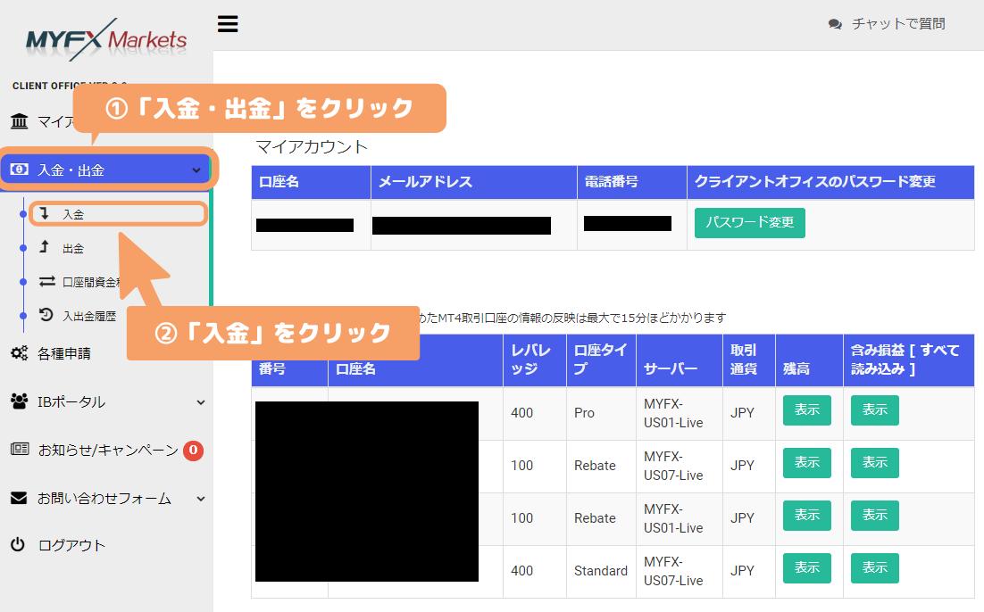 MyFXMarkets-Client Office入金