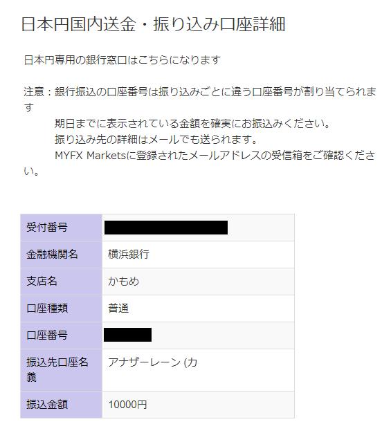MyFXMarkets-日本国内送金での入金先詳細