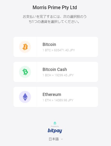 MyFXMarkets-bitpay入金の通貨を選択