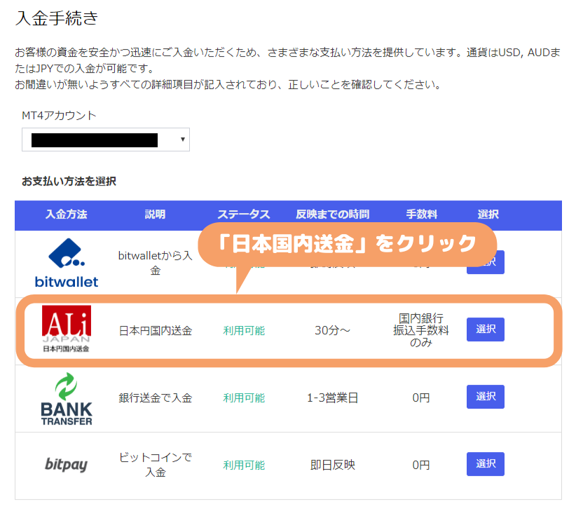 MyFXMarkets-日本国内送金での入金