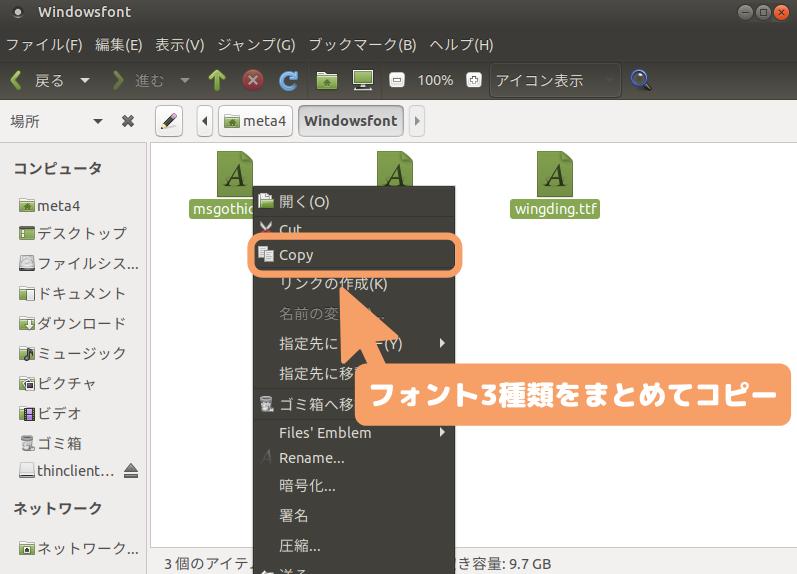 Ubuntu MATE-フォントをまとめてコピー