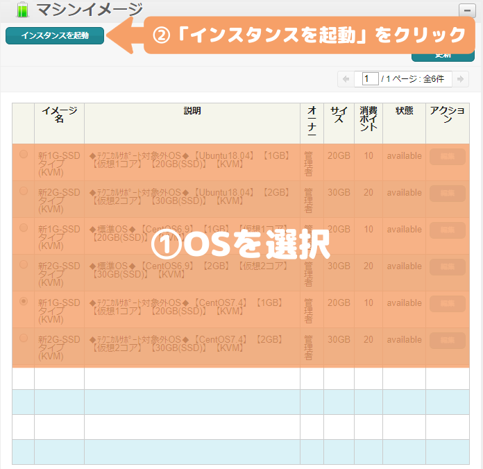 WebARENA-OSの選択