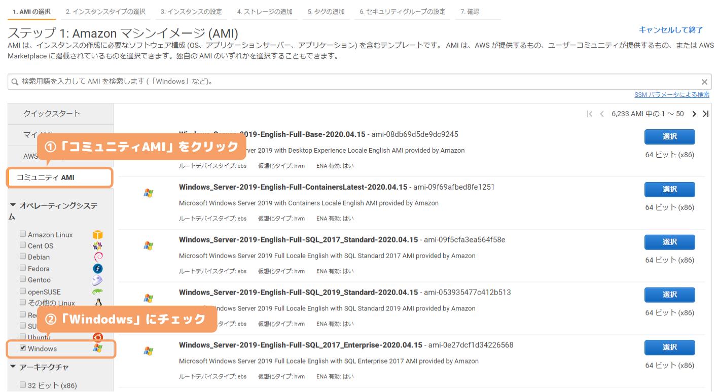 AWS-コミュニティAMI(Windows)