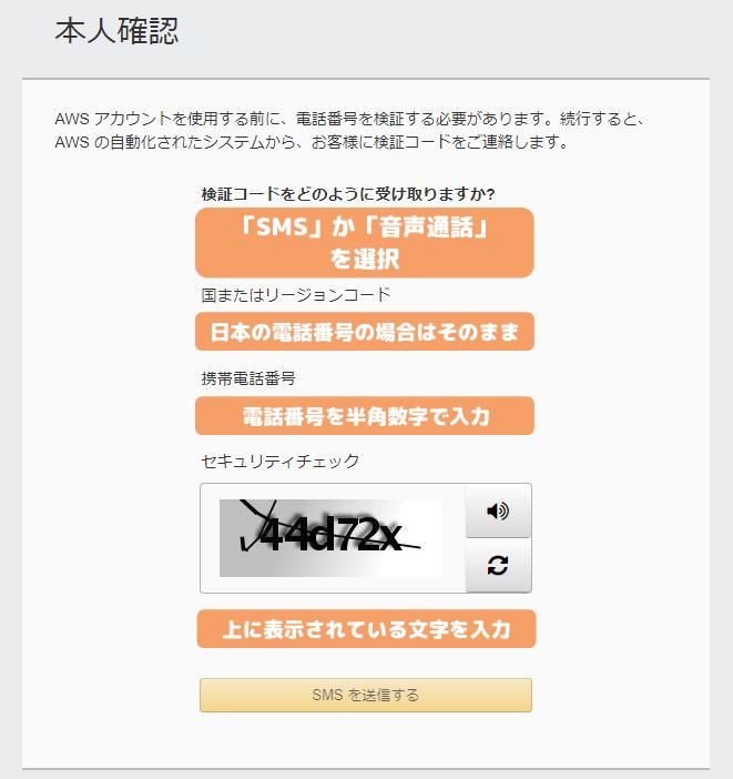 AWS登録-電話番号確認