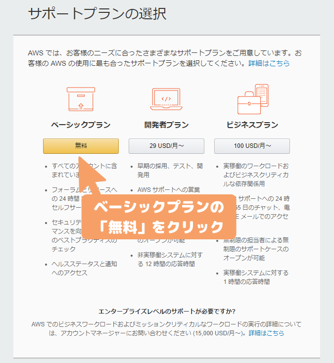 AWS登録-サポートプランの選択