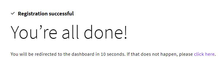 UpCloud(アップクラウド)登録完了画面