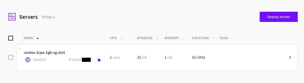 UpCloud(アップクラウド)起動完了画面