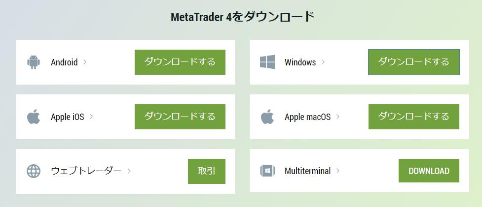 FBSデモ口座開設-メタトレーダーのOS毎のダウンロード画面