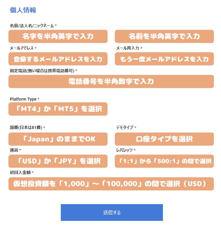 LandFXデモ口座開設-個人情報の入力と口座情報の選択