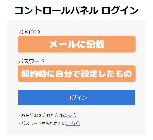 お名前.com デスクトップクラウド for MT4-コントロールパネルへログイン