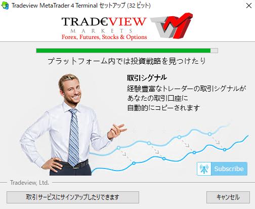Tradeviewデモ口座MetaTrader4インストール-インストール開始