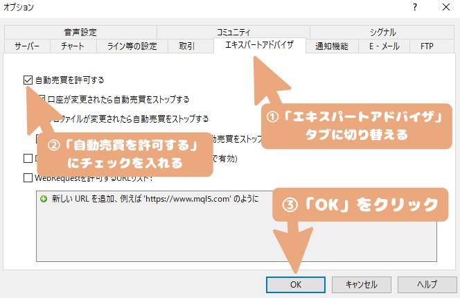 EAのインストール・導入-「自動売買を許可する」にチェックを入れて「OK」ボタンを押す