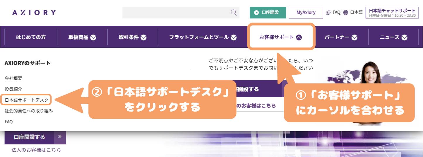AXIORY口座解約-「お客様サポート」にカーソルを合わせ、現れた画面から「日本語サポートデスク」を選択