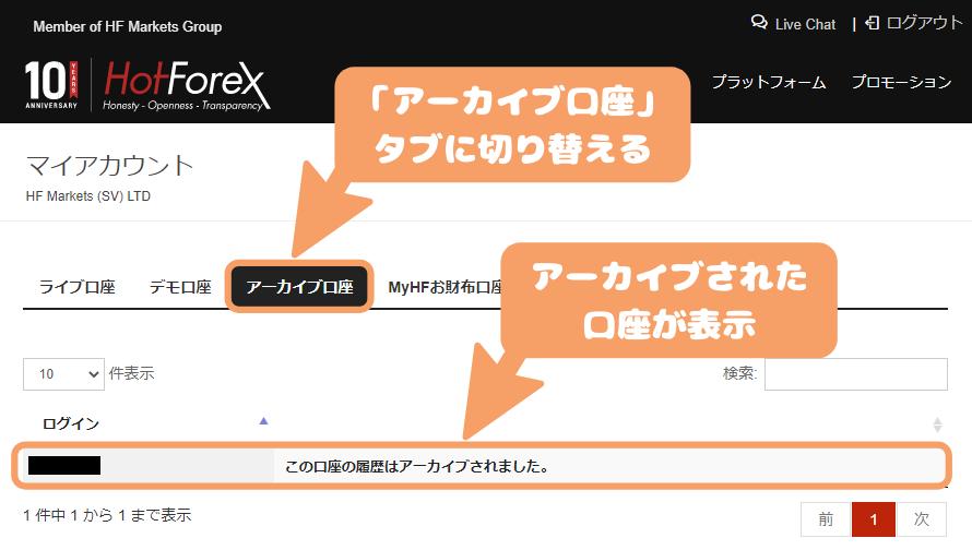 HotForex口座解約-「アーカイブ口座」タブに切り替える