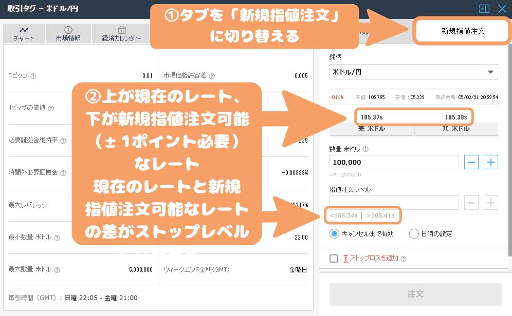 iFOREX-新規指値注文のストップレベルの調べ方
