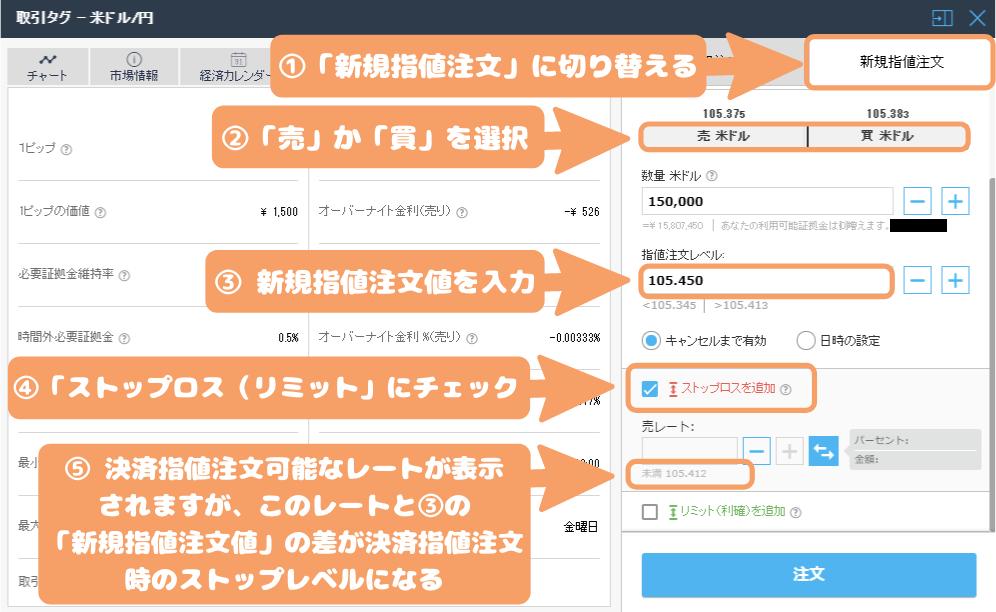 iFOREX-決済指値注文のストップレベルの調べ方